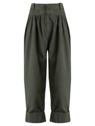 J.W.Anderson Tapered Leg Pleated Cotton Trousers Dark Green