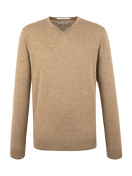 Racing Green Keats V Neck Merino Jumper Brown
