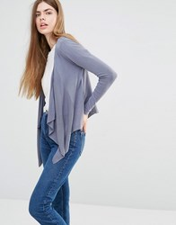 Soaked In Luxury Nelli Draped Front Cardigan Blue Beige