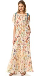 Red Valentino Print Birds Flare Jumpsuit Soy