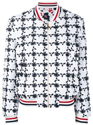 Thom Browne Floral Embroidered Bomber Jacket Women Silk Cotton 42 White