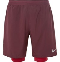 Nike Distance 2 In 1 Dri Fit Shorts Burgundy