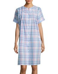 Miss Elaine Plaid Seersucker Mumu Robe Blue Plaid