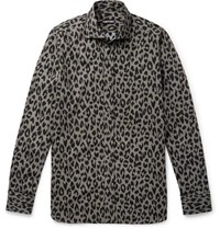 Tom Ford Slim Fit Leopard Print Cotton Blend Shirt Gray