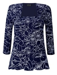 Grace Made In Britain Floral Print Top Navy