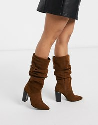 Bronx Suede Slouch Knee Boots Brown