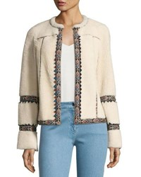 Talitha Collection Embroidered Shearling Jacket Ivory