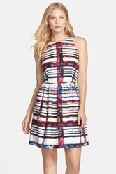 Kaya And Sloane Plaid Floral Fit And Flare Dress Pink