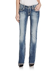 Vigoss Ny Embroidered Flap Bootcut Jeans Blue