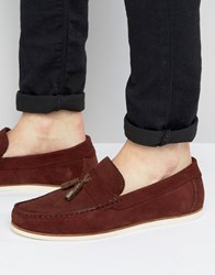 Asos Loafers In Burgundy Suede With Tassel Detail Red