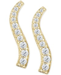 Giani Bernini Cubic Zirconia Graduated Curve Drop Earrings In 18K Gold Plated Sterling Silver Only At Macy's
