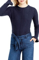 J.Crew Women's Ruffle Sleeve Cable Crewneck Sweater Navy