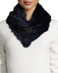 Jocelyn Rabbit Fur Infinity Scarf Black Navy