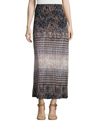 Neiman Marcus Printed A Line Maxi Skirt Black Beige Blue
