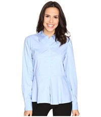 Ellen Tracy Peplum Collared Top Serenity Blue Women's Clothing