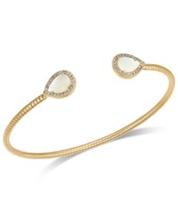 Danori Pave And Imitation Mother Of Pearl Textured Cuff Bracelet Gold