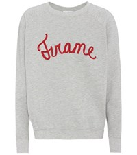Frame Embroidered Cotton Jersey Sweater Grey