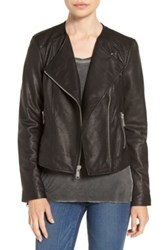 Andrew Marc New York Riley Textured Genuine Leather Moto Jacket Black