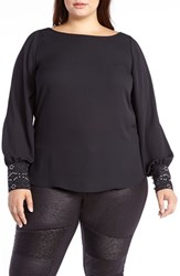 Addition Elle Love And Legend Plus Size Women's Embellished Slit Sleeve Blouse