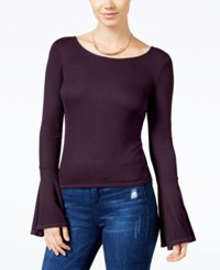 Chelsea Sky Ribbed Bell Sleeve T Shirt Only At Macy's Eggplant