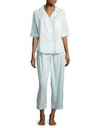 Miss Elaine Dotted Cotton Top And Pants Pajama Set Blue