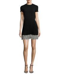 Red Valentino Short Sleeve Lace Trim Pleated A Line Dress Nero