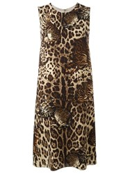 Dolce And Gabbana Bengal Cat Print Dress Brown