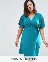 Praslin Plus Wrap Dress With Lace Kimono Sleeves Teal Blue