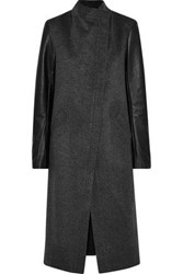 Veda Cadillac Leather Paneled Wool Blend Coat Anthracite