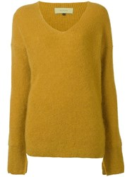 Le Ciel Bleu V Neck Jumper Yellow Orange