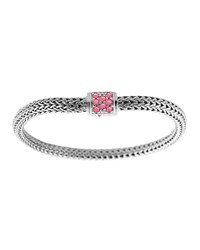 Classic Chain 5Mm Extra Small Braided Silver Bracelet Pink Spinel John Hardy