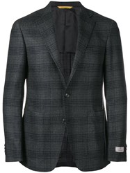 Canali Single Breasted Check Blazer Grey