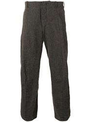 Forme D'expression Curved Leg Cropped Trousers Men Linen Flax Ramie 48 Brown