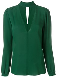 A.L.C. Choker V Neck Blouse Women Silk 6 Green