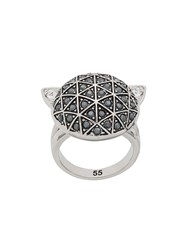 Karl Lagerfeld Faceted Choupette Ring Silver