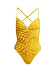 Norma Kamali Butterfly Mio Ruched Swimsuit Yellow