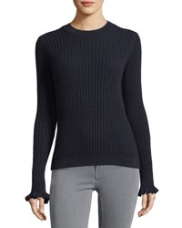 Mih Jeans Happy Frill Long Sleeve Ribbed Merino Cashmere Sweater Navy