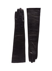 Ms Min Long Sheepskin Leather Gloves Black