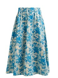 By Walid Daisy Floral Print Cotton Canvas Midi Skirt Blue Print
