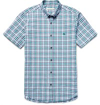 Burberry Brit Campton Slim Fit Checked Cotton Seersucker Shirt Green