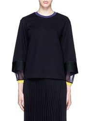 Toga Archives Stepped Sleeve Cotton Knit Top Black
