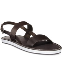 Armani Jeans Men's Double Strap Leather Sandals Men's Shoes Brown