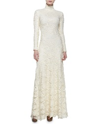 Ralph Lauren Collection Long Sleeve Floral Lace Turtleneck Gown