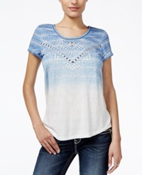 Miss Me Printed Embellished Dip Dyed T Shirt Blue