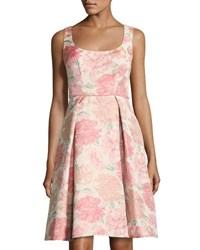 Maggy London Floral Jacquard Fit And Flare Dress Pink Pattern