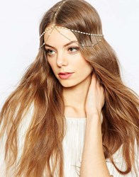 Asos Fine Faux Pearl Crown Headband Gold