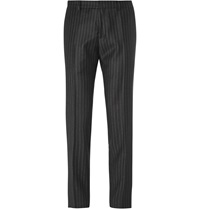 Ami Alexandre Mattiussi Slim Fit Pinstriped Wool Trousers Black