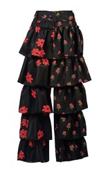 Simone Rocha Floral Embroidered Frill Front Neoprene Trousers Multi