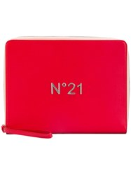 N 21 No21 Logo Plaque Zip Clutch Women Leather One Size Red