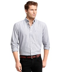 Izod Big And Tall Long Sleeve Essential Mini Checked Shirt Zeus Navy